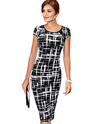 Women's Sexy / Vintage Print Bodycon Dress,Round Neck Knee-length Cotton / Polyester