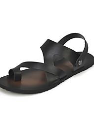 Chaussures Hommes-Décontracté-Noir / Blanc-Similicuir-Sandales