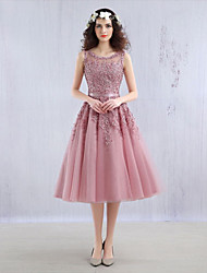 Cocktail Party Dress Ball Gown Jewel Tea-length Lace / Tulle