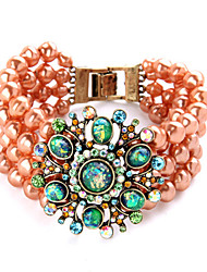 Vintage European Fashion Alloy Pearl  Luxurious Beaded Bracelet 1pc