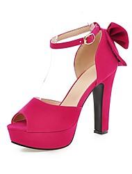 Women's Shoes Chunky Heel Platform/Open Toe Sandals Party & Evening/Dress Black/Blue/Peach/Almond