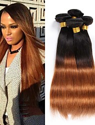 4PCS 12-24 inch Brazilian Straight Hair Ombre #1B30 Color  Human Hair Weaves