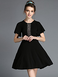 Summer Vintage Plus Size Women Elegant Luxury Bead Slim Ruffle Short Sleeve Dress