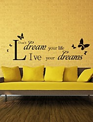 Quote Live Your Dream Butterfly Wall Sticker Beautiful Home Decor Decoration Removable Art Decals