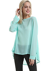 Women's Casual/Daily Simple Fall Blouse,Solid Round Neck Long Sleeve Red / Green Medium