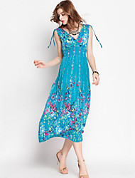 Women's Boho / Street chic Print Swing Dress,Deep V Maxi Polyester