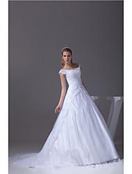 Hochzeitskleid-Weiß Satin / Tüll-A-Linie-Kapellen-Schleier-V-Ausschnitt