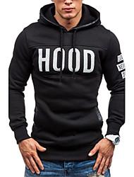 Men's Long Sleeve Hoodie & Sweatshirt,Cotton / Polyester Print / Letter