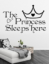 The Princess Wall Stickers Sleeps Here Home Decoration Bedroom Wallpaper Wall Art Decor Wall Sticker Girl Murals