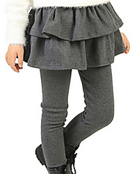 Girl's Black / Red / Gray Pants,Ruffle Cotton Winter / Spring