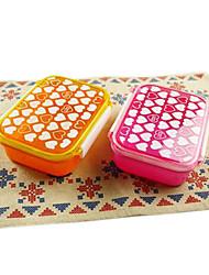 casella di cuore piccola singola fila scatola di sushi di plastica pranzo (colore casuale)