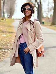 Women's Fashion Pure POLO Double Breasted Trench Coat More Colors