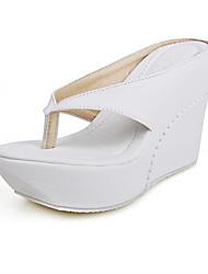 Women's Shoes Leatherette Wedge Heel Wedges / Flip Flops Slippers Dress / Casual Black / Pink / White