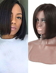 """não transformados 8 """"16"""" frente perucas virgem brasileira cor natural sedosa bob reta cheia do laço peruca de cabelo humano rendas"""