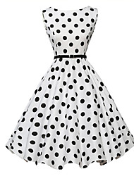 Women's Vintage Polka Dot A Line / Skater Dress,Round Neck Knee-length Polyester