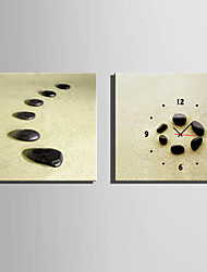 E-HOME®Black Stones Clock in Canvas 2pcs