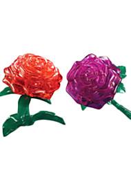 Quebra-cabeças 3D Puzzles / cristal enigma Blocos de construção DIY Brinquedos Rose ABS Vermelho Modelo e Blocos de Construção