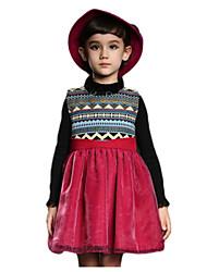 Girl's Blue / Red Dress,Stripes Cotton Winter