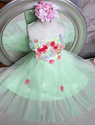 A-line Knee-length Flower Girl Dress - Tulle Sleeveless Jewel with