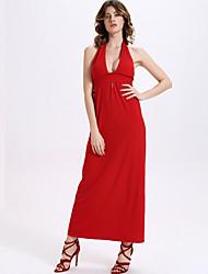 Women's Sexy Solid Sheath Dress,Halter Maxi Cotton / Spandex