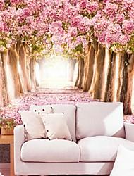 contemporain effet cuir 3d shinny grand papier mural fleurs et arbres roses chauds mur d'art déco