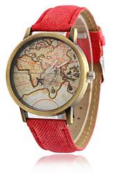 Женские Модные часы Кварцевый PU Группа World Map Pattern Черный Белый Синий Красный Зеленый Желтый