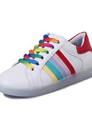 Feminino Para MeninasLight Up Shoes-Rasteiro-Branco-Courino-Ar-Livre Casual Para Esporte