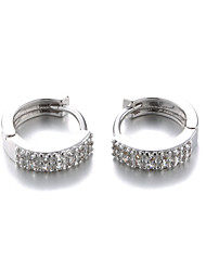 Earring Hoop Earrings Jewelry Women Platinum Plated 2pcs Silver