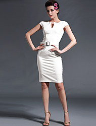 Baoyan® Damen V-Ausschnitt Kurze Ärmel Über dem Knie Kleid-150076