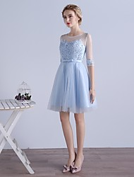 Cocktail Party Dress A-line Jewel Knee-length Tulle with Appliques