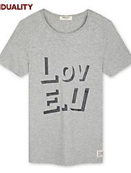 Trenduality® Men's Round Neck Short Sleeve T Shirt Gray / Yellow-43084