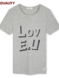 Trenduality® Hombre Escote Redondo Manga Corta Camiseta Gris / Amarillo-43084