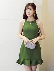Women's Sexy Solid Bodycon Dress,Halter Mini Polyester