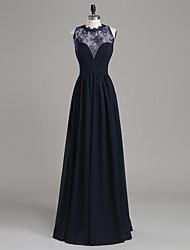 Formal Evening Dress-Dark Navy A-line Jewel Floor-length Chiffon / Lace