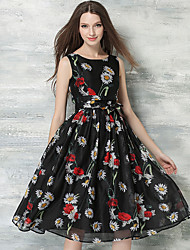 Women's Party/Cocktail Vintage Sheath / Swing Dress,Floral Round Neck Midi Sleeveless Black Silk Summer