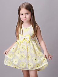 Girl's Yellow Dress,Floral / Bow Rayon Summer