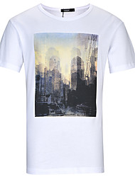 Lesmart Hombre Escote Redondo Manga Corta Camiseta Blanco-TKS1605
