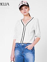 Goelia® Damen V-Ausschnitt 1/2 Länge Ärmel Shirt & Bluse Beige-164W3C010