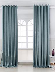 Dois Painéis Moderno Sólido Azul Quarto Mistura de Linho e Poliéster Painel Cortinas cortinas