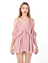 Robe Aux femmes Ample Simple,Couleur Pleine Col en V Mini Polyester