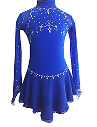 Robe de Patinage Femme Manches longues Patinage Robes Robe de patinage artistique Elasthanne Bleu royal Tenue de PatinageVêtements de