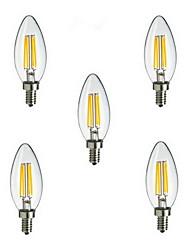 4W E14 Ampoules à Filament LED CA35 4 LED Haute Puissance 400 lm Blanc Chaud Blanc Froid Décorative AC 85-265 V 5 pièces
