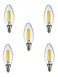 5pcs e14 4W 400LM warm / koel wit 360 graden edison gloeidraad licht LED kaars lamp (85-265V)