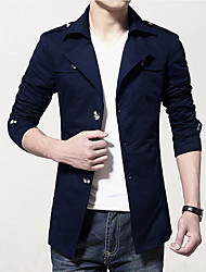 Men's Long Sleeve Jacket,Cotton Casual Solid 916117