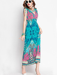 Women's Vintage / Boho Print Slim Backless Classic Holiday Casual Beach Sheath Dress,V Neck Maxi