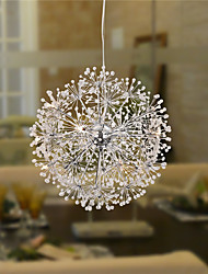 Modern Chrome LED Pendant Lights Globe Dandelion Lights With12 Lights Living Room / Bedroom / Dining Room