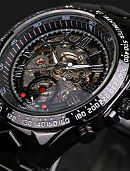 WINNER® Men's Skeleton Automatic self-winding Watch Waterproof Black Stainless Steel Band Wrist Watch Cool Watch  Fashion Watch