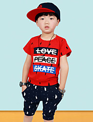 Boy's Cotton Summer Letter Pattern And Scrawl Two-piece Suit