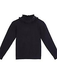 Flower Solid Long Sleeve Sweet Girls Sweater