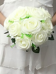Wedding Flowers Round Roses Bouquets Wedding / Party/ Evening Fuchsia / Pink / Red / Green / White / Champagne / Multi-color Satin